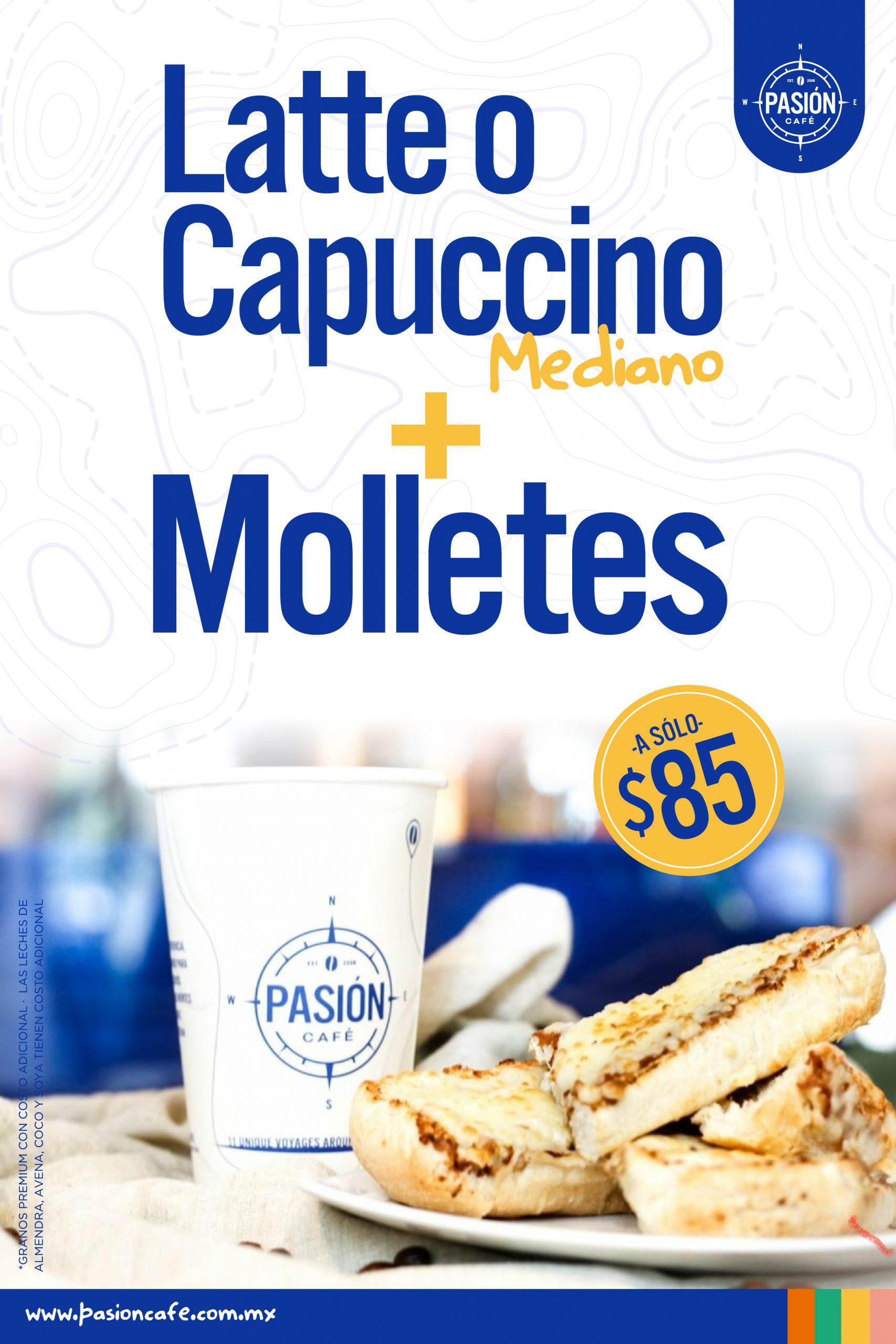Pasión Café Capuchino + Molletes